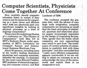 The Physics of Computation Conference MIT Endicott House